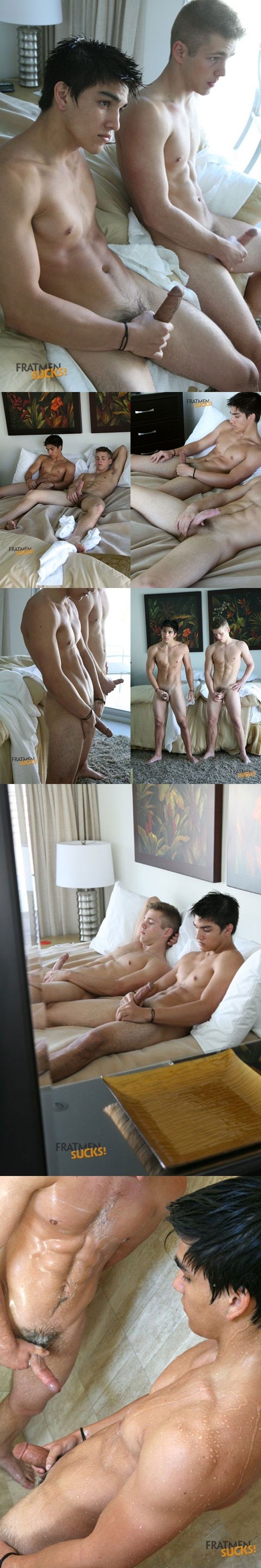 Fratmen Sucks two hot young naked college guys Fratmen Dean and Fratmen Diego jerk in the shower 1 download full movie torrents and gay porn photo gallery
