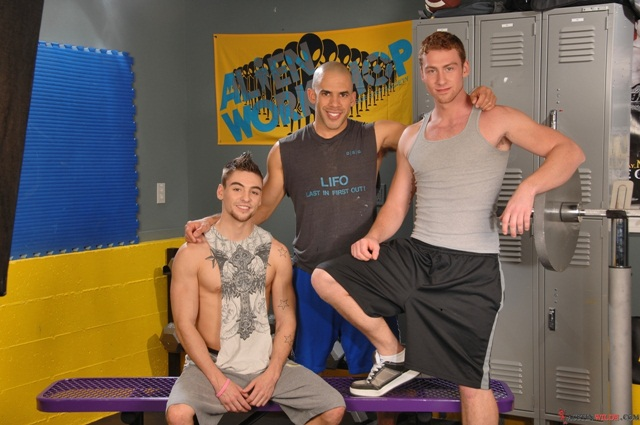 Austin Wilde, Johnny Torque and Connor Maguire, gym threesome!