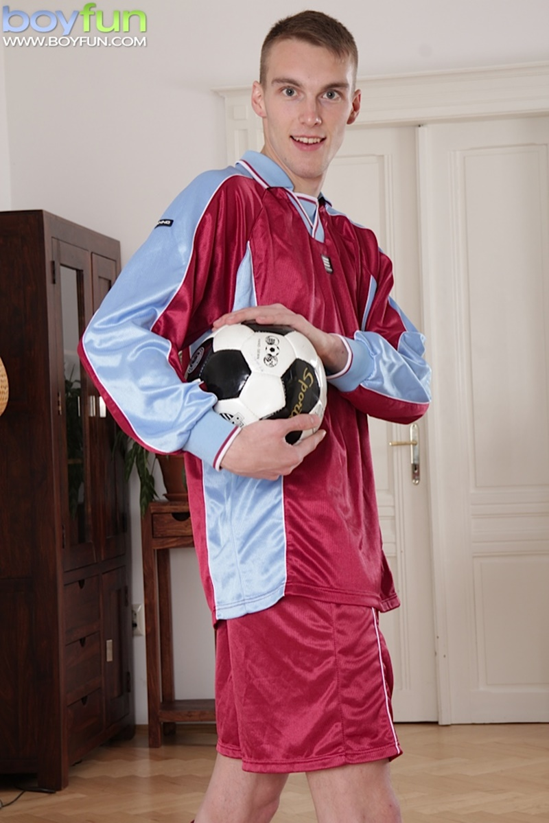 BoyFun young naked soccer player Mike James stroking hard thick twink cock huge boys cumming soccer kit footie strip jerking 001 gay porn sex gallery pics video photo - Soccer player Mike James stroking his hard cock