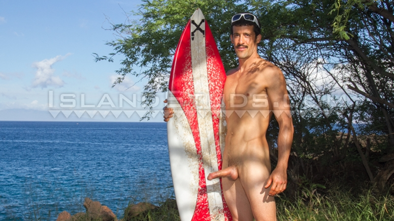 IslandStuds Mustached Italian surfer Hugo straight buff naked surf Stud nude jerks thick rock hard cock piss surf board 001 tube video gay porn gallery sexpics photo - Horny hung Italian New York surfer Hugo rides the waves jerking his fat cock