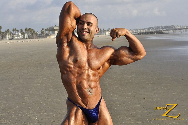 JimmyZProductions Alavi Damante bodybuilder muscles oiled ripped body thong glutes naked cigar smoking 001 male tube red tube gallery photo - Alavi Damante