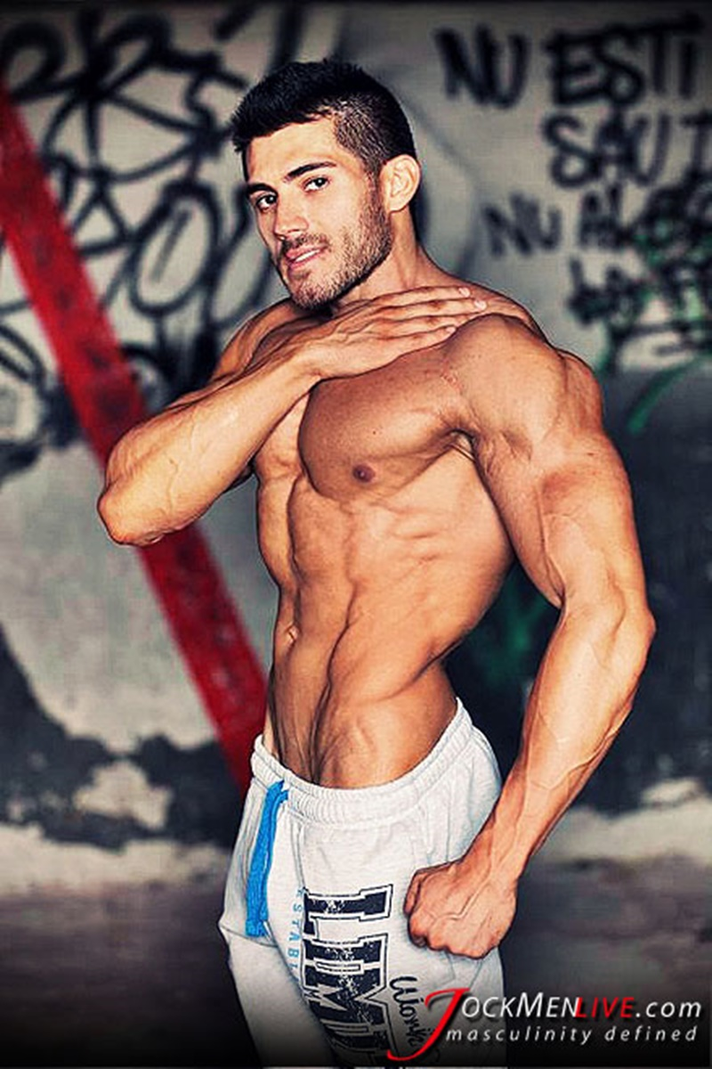 JockMenLive jock men live shredded muscle show Johnny Cool massive muscle bodybuilder naked muscleman huge arms lats ripped abs 001 gay porn sex gallery pics video photo 2 - Jock Men Live 26 years old Romanian bodybuilder Johnny Cool ripped shredded big muscle man
