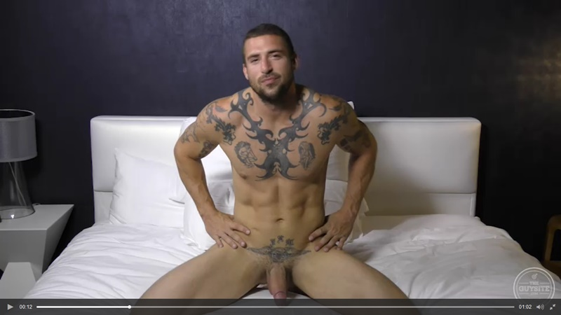 TheGuySite sexy tattooed naked muscle hunk Derek Thibeau jerks long thick dick cumshot tattoo muscled stud ripped six pack abs 001 gay porn sex gallery pics video photo - The Guy Site sexy tattooed muscle hunk Derek Thibeau jerks his long thick dick