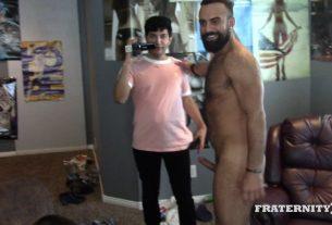 Slutty Professor 2 hot young college dudes fucking FraternityX 009 gay porn pics 305x207 - Hottie hunk Ethan Chase's huge uncut dick bareback fucking young Latino cutie Joaquin Santana