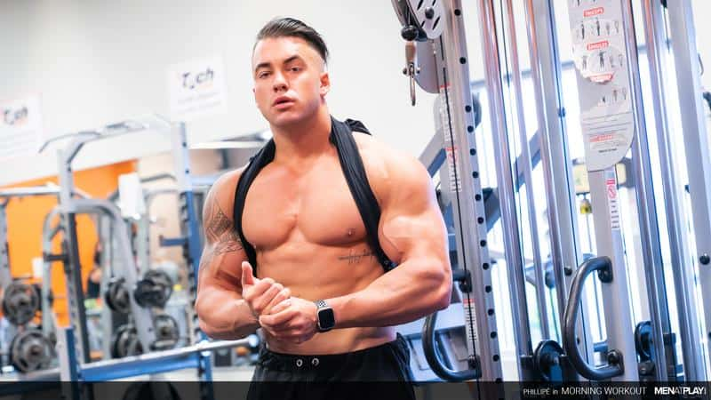 Big muscle hunk Phillipe Massa flexes gym stroking huge thick dick huge cumload 3 gay porn pics - Big muscle hunk Phillipe Massa flexes in the gym before stroking his huge thick dick to a huge cumload